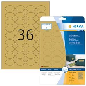 Bilde av SPECIAL gull etiketter glossy oval, 25 ark,
